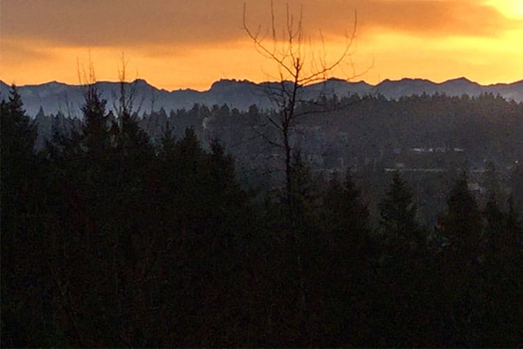 This is the view from our kitchen window looking east to the Cascade Mountains