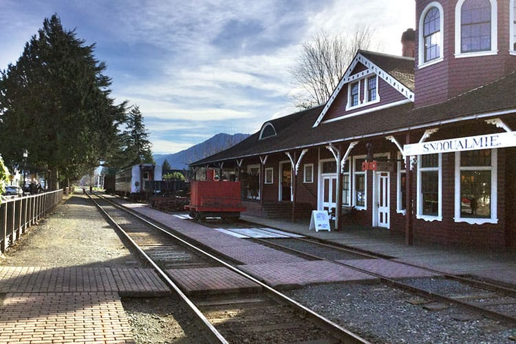The small downtown of Snoqualmie where they have a fondness for old trains